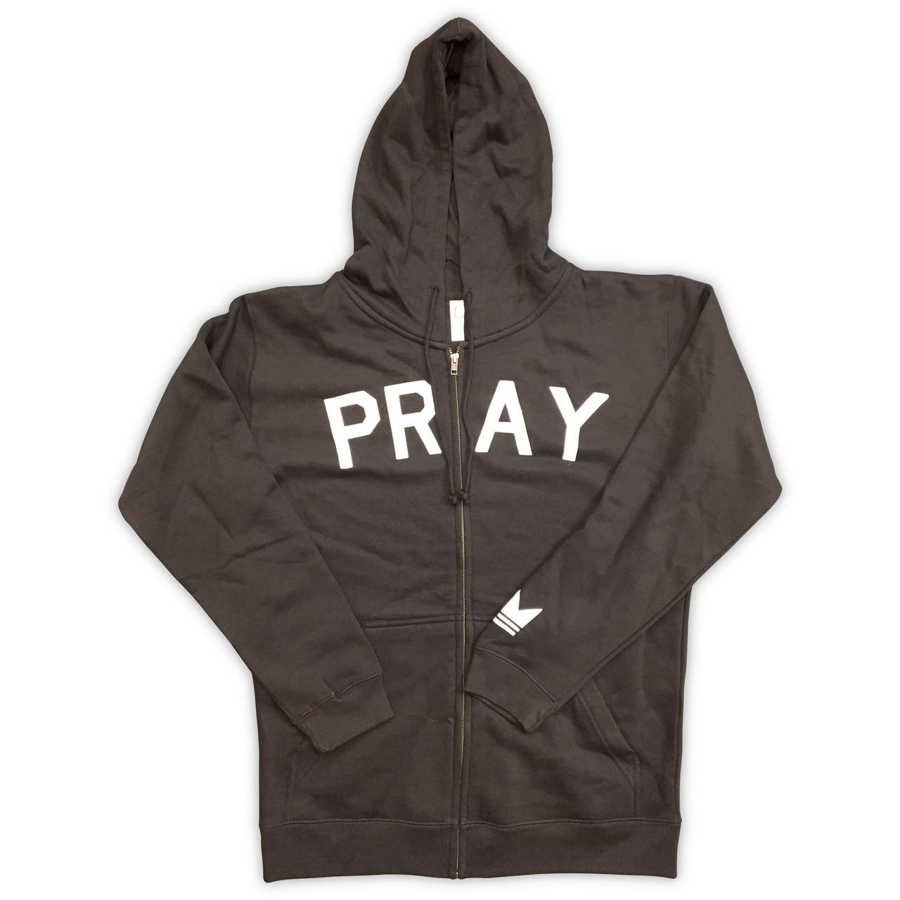 Onecrown PRAY Zip Up Black Hoodie Streetwear
