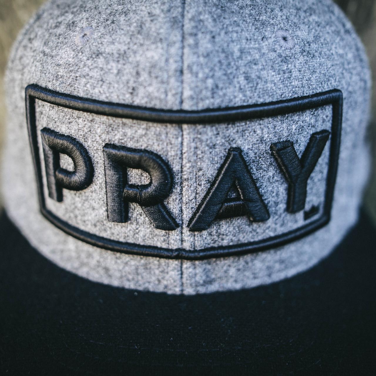 Wool Classic PRAY - Strapback Hat - Gray/Black