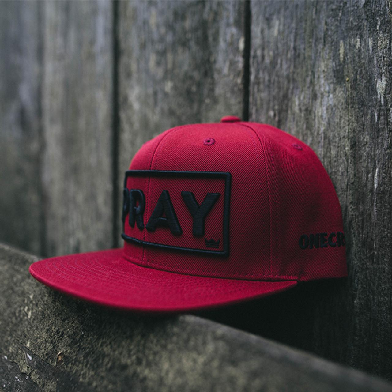 Maroon PRAY Snapback Hat, Christian Streetwear