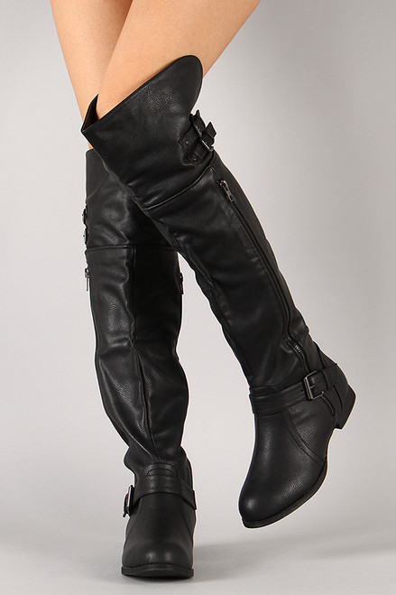 buckle zipper thigh high boot fashionboutique2015