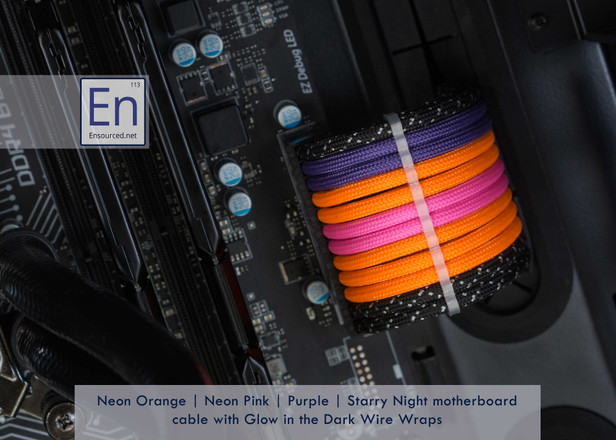 Neon Orange | Neon Pink | Purple | Starry Night Motherboard cable with Glow in the Dark Wire Wraps