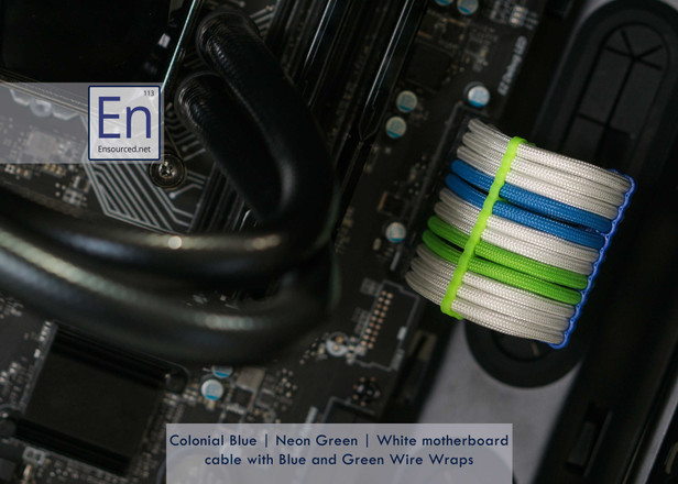 Colonial Blue | Neon Green | White Motherboard cable with Neon Green and Blue Wire Wraps