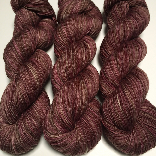 """Brown Sugar Fig"" Hand Dyed Hitchhiker Sock Yarn"