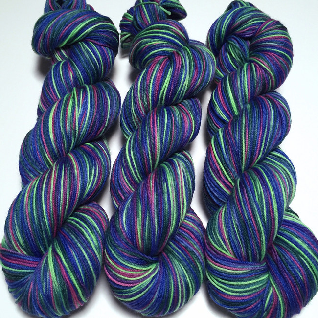 """Warp Speed"" Hand Dyed Hitchhiker Sock Yarn"