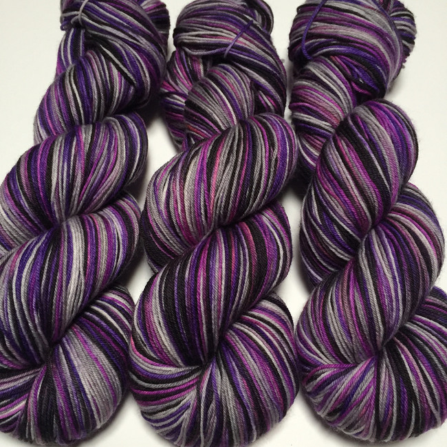 """Gothic Romance"" Hand Dyed Hitchhiker Sock Yarn"