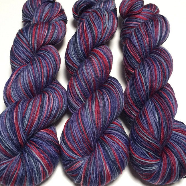 """Old Glory"" Hand Dyed Hitchhiker Sock Yarn"