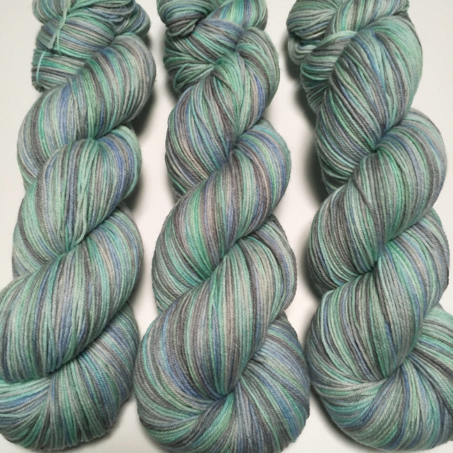 """Glacial Melt"" Hand Dyed Hitchhiker Sock Yarn"