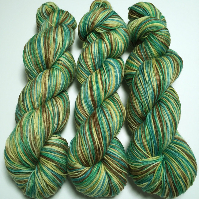 """Retroactive"" Hand Dyed Hitchhiker Sock Yarn"