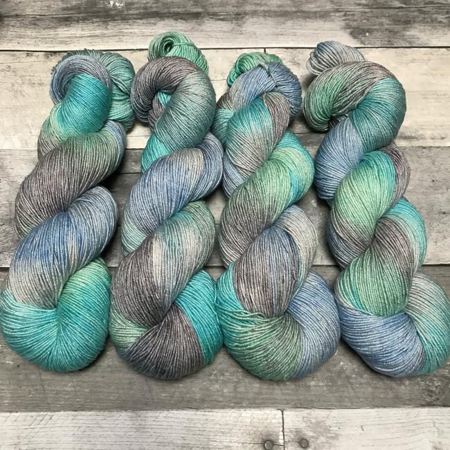"""Glacial Melt"" Hand Dyed Starstruck sparkle yarn"