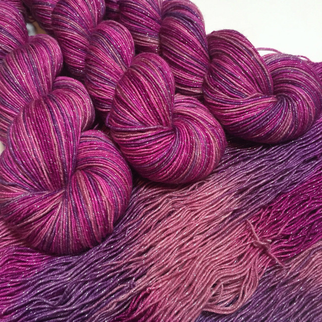 """Heartthrob"" Hand Dyed Starstruck sparkle yarn (LIMITED EDITION)"