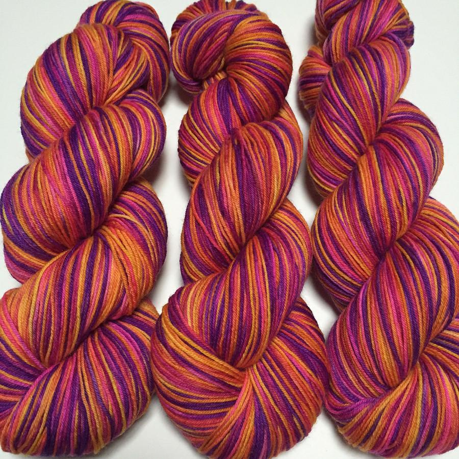 """Phoenix"" Hand Dyed Hitchhiker Sock Yarn"