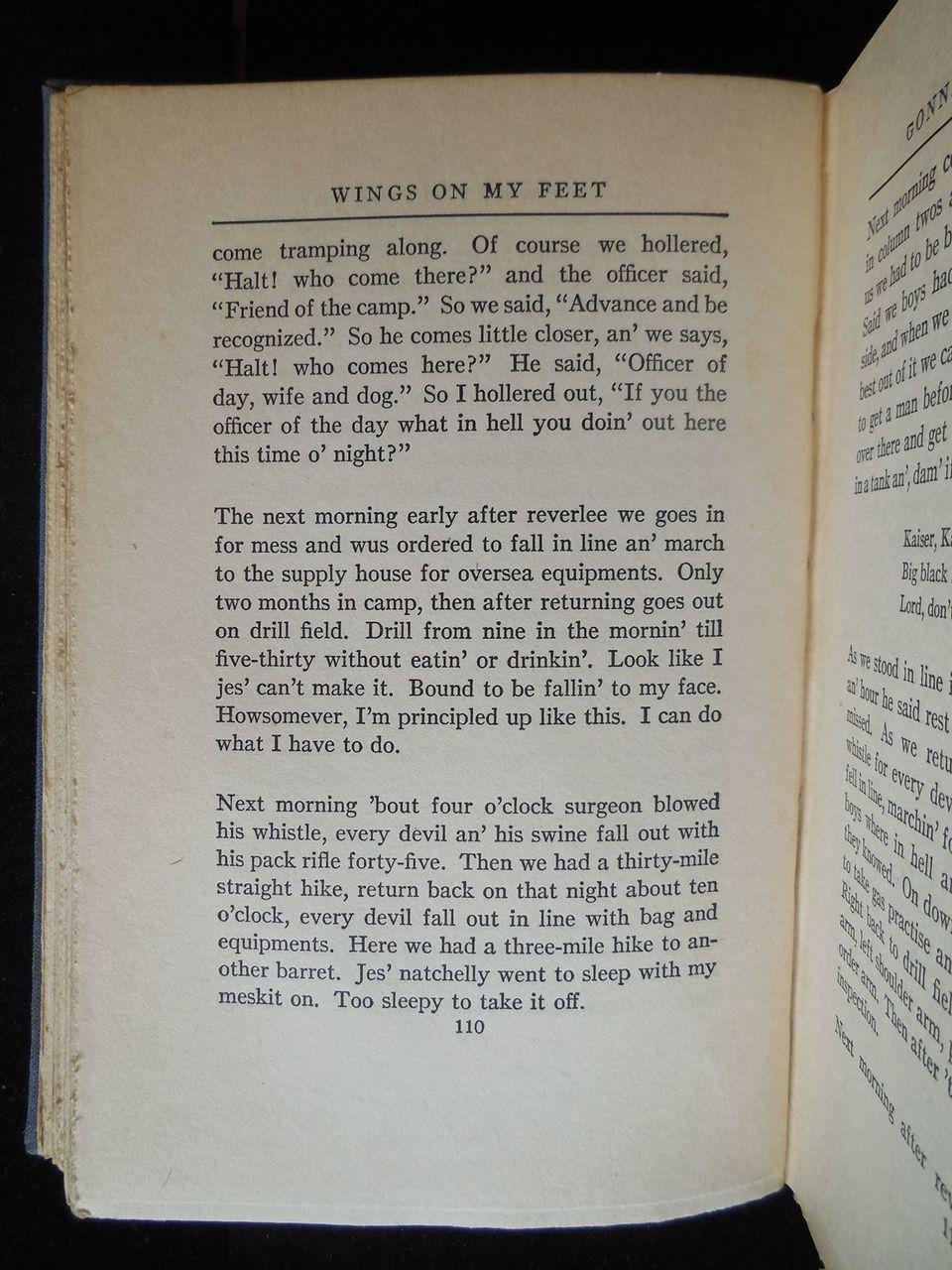 WINGS ON MY FEET, BLACK ULYSSES Howard W Odum 1929 SIGNED 1st Ed Black Americana