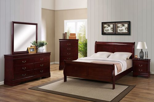 HOT BUY 7PC CHERRY, ONYX, GREY or WHITE FINISH LOUIS PHILIPPE BEDROOM