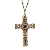 Michal Golan Victorian Pearl Cross Pendant N1963