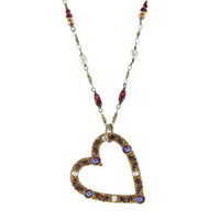 Michal Golan Victorian Pearl Heart Pendant