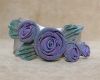 SARAH CAVENDER WAVY CUFF WITH 3 ROSES and PLEATED LEAVES~5203S