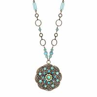 Michal Golan Atlantis Collection - Round Floral Pendant Necklace ~ N3406