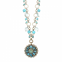 Michal Golan Atlantis Collection - Flower Pendant on Chain with Bead Dangles Necklace ~ N3391