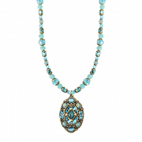 Michal Golan Atlantis Collection - Oval Pendant on Beaded Strand Necklace ~ N3383