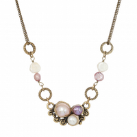 Michal Golan Constellation Collection - Abstract pendant on Double Chain with Pearls Necklace ~ N3632