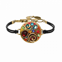 Michal Golan Confetti Collection - Round Pendant Bracelet on Leather Strap ~ SB428