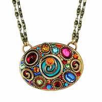 Michal Golan Confetti Collection - Large Oval Pendant Necklace on Double Chain ~ N3603