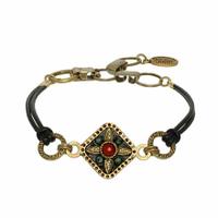 Michal Golan Earth Collection - Diamond Pendant on Leather Strap Bracelet ~ SB587