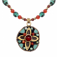 Michal Golan Earth Collection - Small Circle Petal Pendant on Beaded Chain Necklace ~ N3654