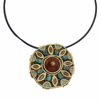 Michal Golan Earth Collection - Large Round Medallion Pendant on Rubber Cord Choker ~ N3718