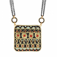 Michal Golan Earth Collection - Big Square Pendant on Quad Chain Necklace ~ N3670