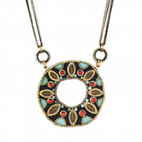 Michal Golan Earth Collection - Large Open Circle Pendant on Six Chains Necklace ~ N3653