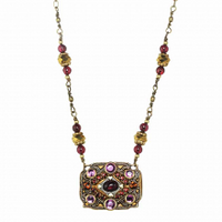 Michal Golan Garnet Collection - Rectangular Pendant on Partially Beaded Chain Necklace ~ N3548