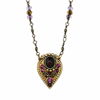 Michal Golan Garnet Collection - Upside Down Teardrop Pendant on Partially Beaded Chain Necklace ~ N3533