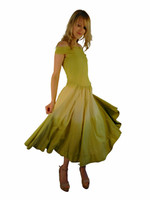Luna Luz Double Dip Ombre Off The Shoulder Dress~Celery/Banana~493W