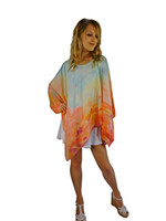 Hand Painted Silk Poncho~Franklin Street Studio~FS1029