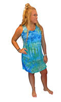 Ice Tye Dye Tank Dress by Martha~Sky Blue