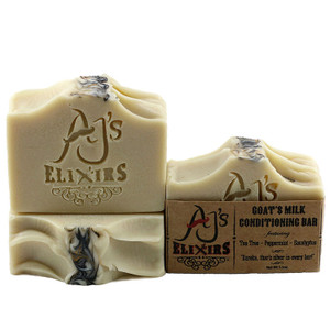 AJ's Elixirs Goat's Milk Tea Tree Bar; an invigorating blend that's superfatted to perfection to provide the creamiest and most moisturizing hair and skin loving bar you've ever experienced.