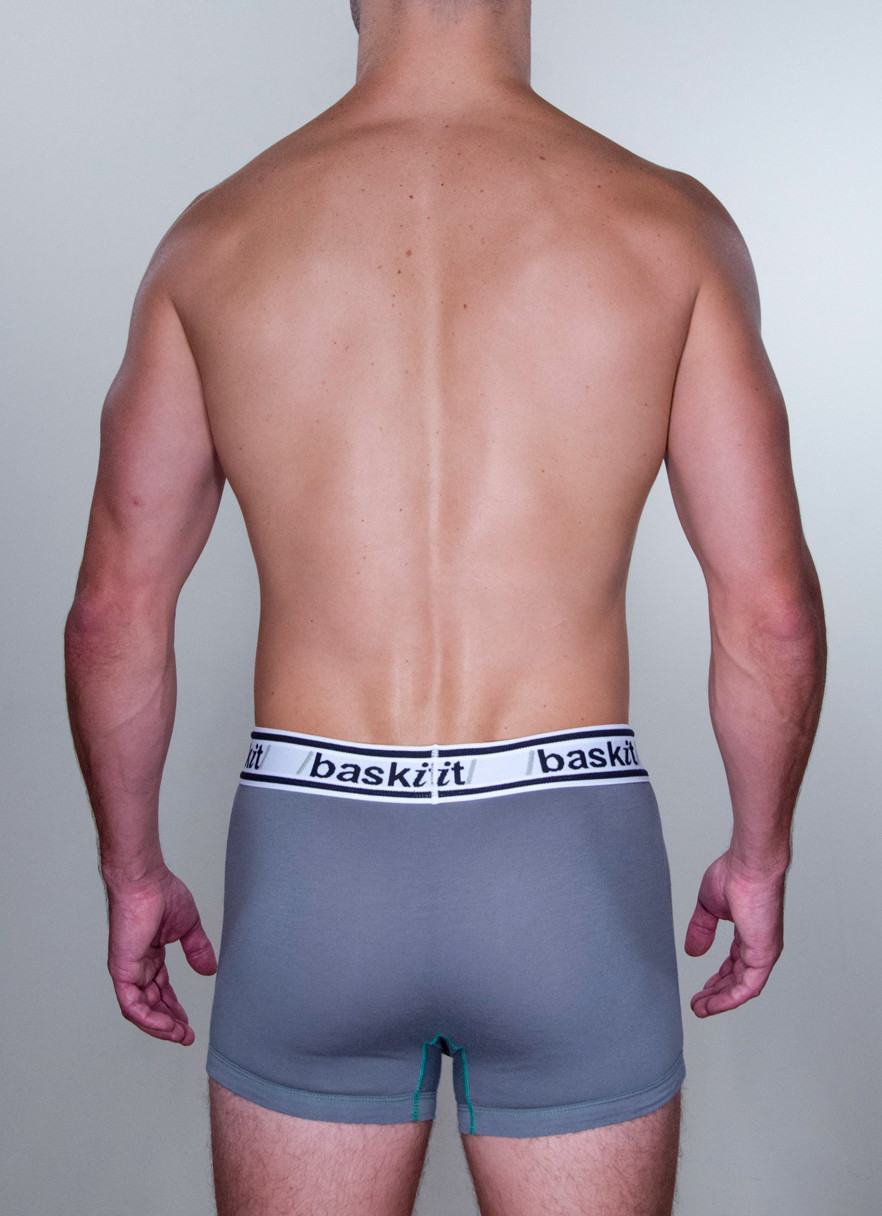 Baskit Light Trunk in menthol grey color back.