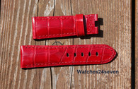 Panerai OEM Red Alligator Strap short Length Retail $390 Now $350