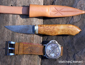 J.P. Miller Damascus Burlwood Camp Knife Fixed Blade with Sheath: $295 USD