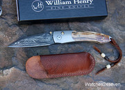 William Henry Damascus Mammoth Ivory Folder Limited Edition of 100 with Sheath: $880 USD
