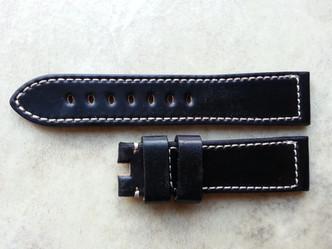 Black with white stitching