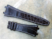 Simona Straps for Audemars Piguet Watches Chocolate Alligator White Stiching for Deployant buckle w/ Brass Insert at lug