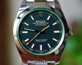 Rolex Milgauss Stainless Steel Black Dial Green Crystal 40mm Ref. 116400V