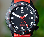 Sinn U1 1000 Meters Black PVD Diver on Red Dive Strap