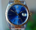 Rolex Vintage Datejust Two Tone Blue Dial Jubilee Bracelet 36mm, Ref. 16013