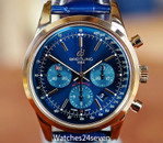 Breitling Transocean Chronograph Blue Sunburst Dial, Rose Gold 43mm