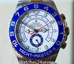 Rolex Yacht-Master II Stainless Steel White Dial Blue Ceramic Bezel 44mm. Ref. 116680