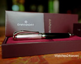 DAVIDOFF WRITING INSTRUMENT BALL POINT PEN SILVER & BLACK LACQUER GIFT BOXED
