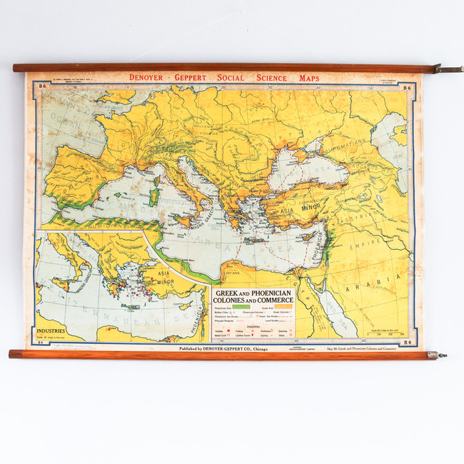 Vintage School Chart, Greek and Phoenician Colonies and Commerce